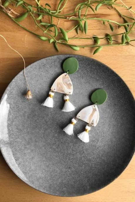 One of a Kind Handmade Polymer Clay Earrings with Tassels - perfect for a gift or Mother's Day present